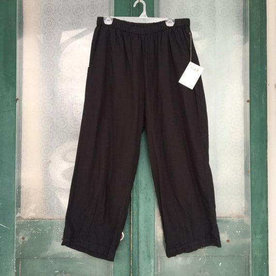FLAX Engelheart Embellished Flood Pants -L- Black Flannel NWT
