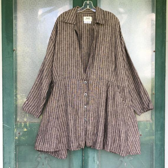 FLAX Engelhart Fall 1998 My Hero's Coat Retro Edwardian Jacket -3G/3X- Black Yarn-Dyed Pinstripe Linen