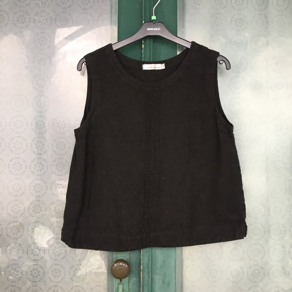 Cut Loose Pintuck Tank -M- Black Linen
