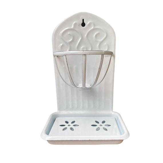 White Enamelware Sink Fixture Soap Dish