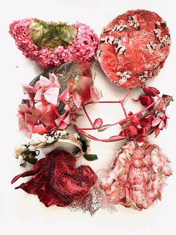 Hats with History Pink Floral Velvet Netting
