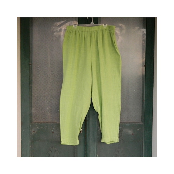 Hot Cotton Straight Pants -2X- Bright Green Linen
