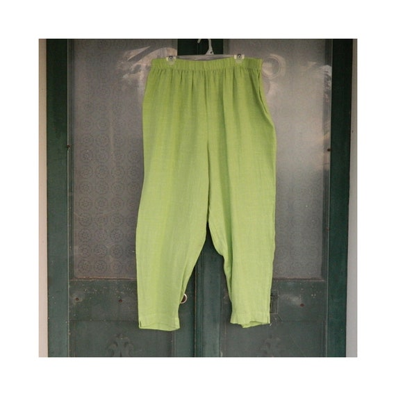 Hot Cotton Straight Pants -2X- Bright Green Linen
