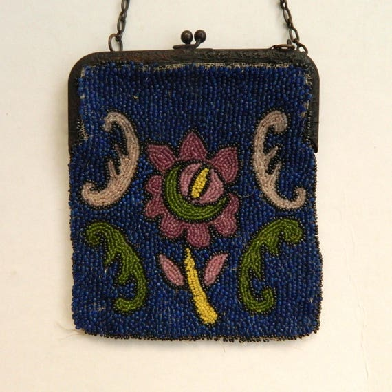 Vintage Floral Blue Beaded Bag Belgium