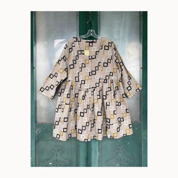 Gudrun Sjoden Ribbons Tunic -XL- Cotton Linen Squares Print NWT