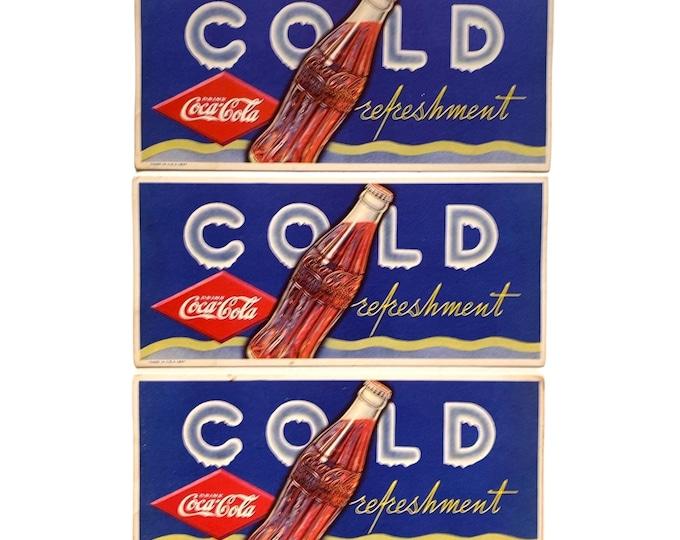 Set of 3 Vintage 1937 Coca Cola Cold Refreshment Soda Advertising Blotter Cards