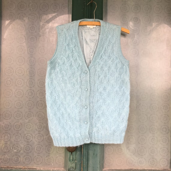 Vintage Mohair Blend Cable Knit Sweater Vest -38- Light Blue Lined