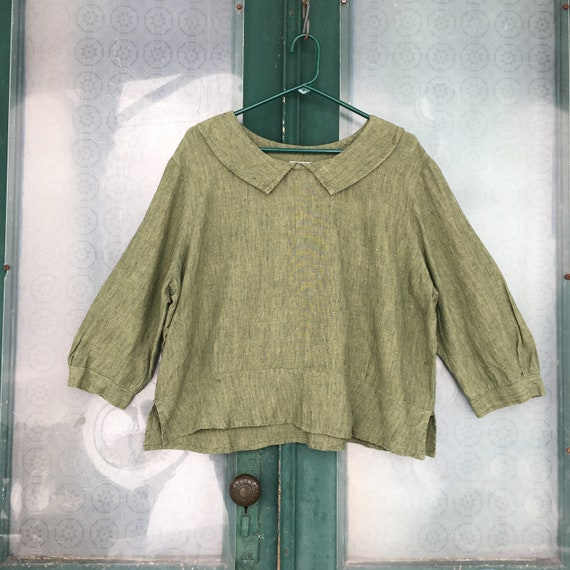 FLAX Engelhart Retro Middy Minded Blouse -M/L- Fern Green Blue Yarn-Dyed Linen