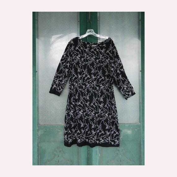 Niche Nilgun Derman Cable Car Dress -XL- Black with White Embroidery Viscose/Spandex NWT