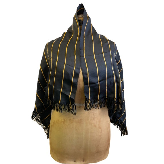 Victorian Black and Gold Silk Shawl Scarf Wrap with Fringe