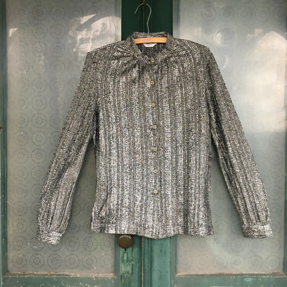 Vintage Judy Bond Silver Metallic Blouse