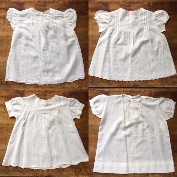 Collection of 4 White Cotton Infant Dresses