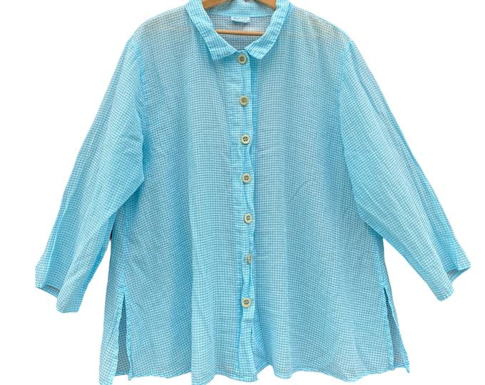 Habitat Blue Grid Shirt Jacket -L- Semi Sheer Viscose/Linen