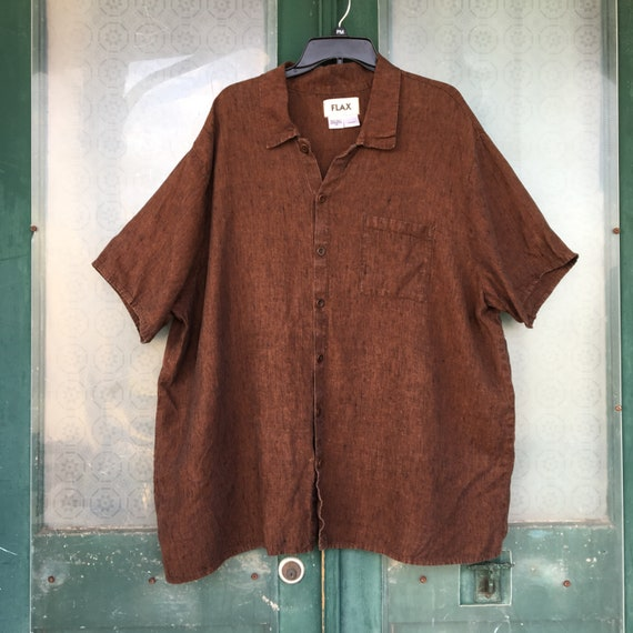 FLAX Engelhart Camp Shirt -1G/1X- Brindle Yarn-Dyed Brown-Black Linen