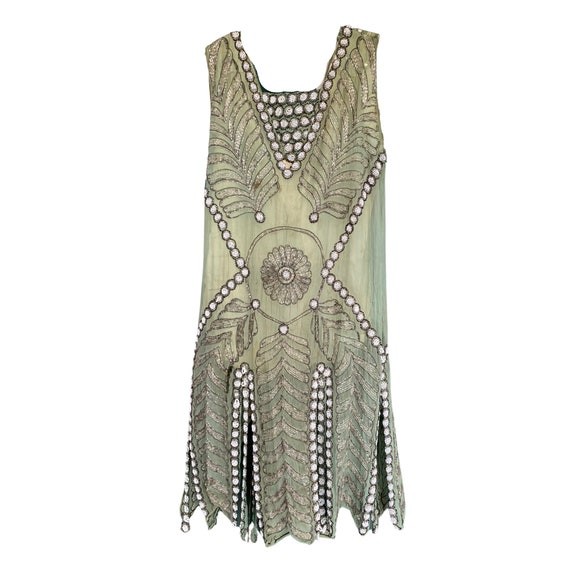Vintage 1920s Light Green Beaded Flapper Dress