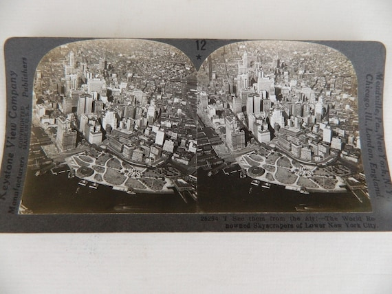 Keystone View Stereoscope Card Views of Skyscrapers in Lower Manhattan NYC
