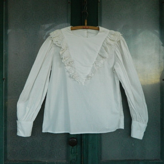 RESERVED Retro Victorian Long-Sleeve White Cotton Blouse