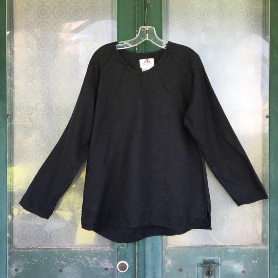 FLAX Engelhart Basic 2000 Sunshine Shirt -S- Black Linen