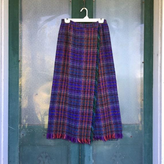 Vintage Long Wrap Skirt -M/L- Purple Magenta Teal Wool Weave