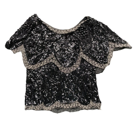 Vintage Black Beaded Sequined Pullover Blouse AS IS