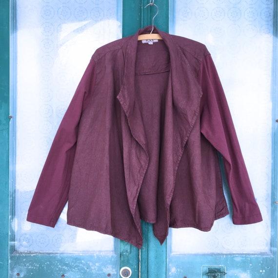 FLAX Designs Open Front Jacket -L- Maroon Linen/Cotton-Spandex