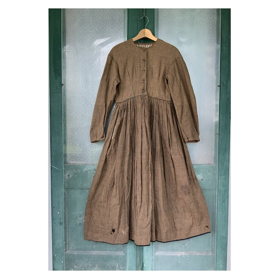 Antique Civil War 1860s Cotton Work Dress
