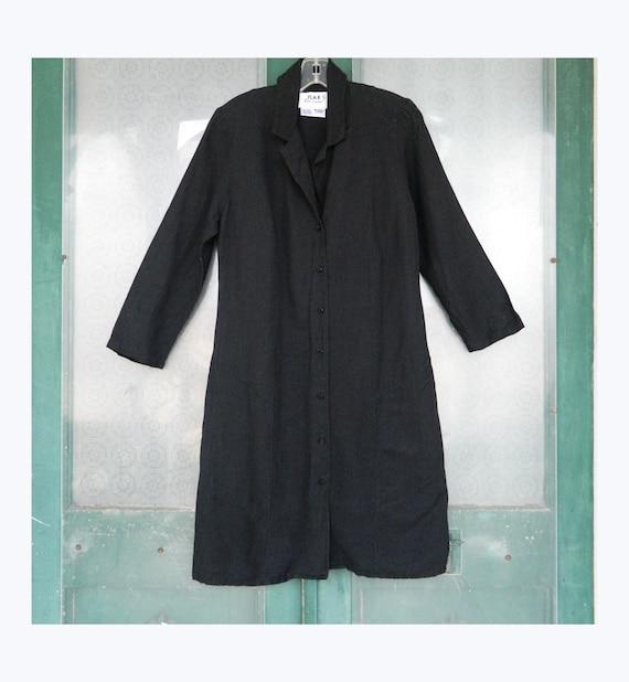 FLAX Engelheart Fall 2001 Long Jacket -P/XS- Black Lines Linen/Rayon