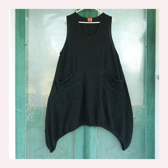 Oh My Gauze! Sleeveless Tunic Dress -OS-  Black Cotton Gauze