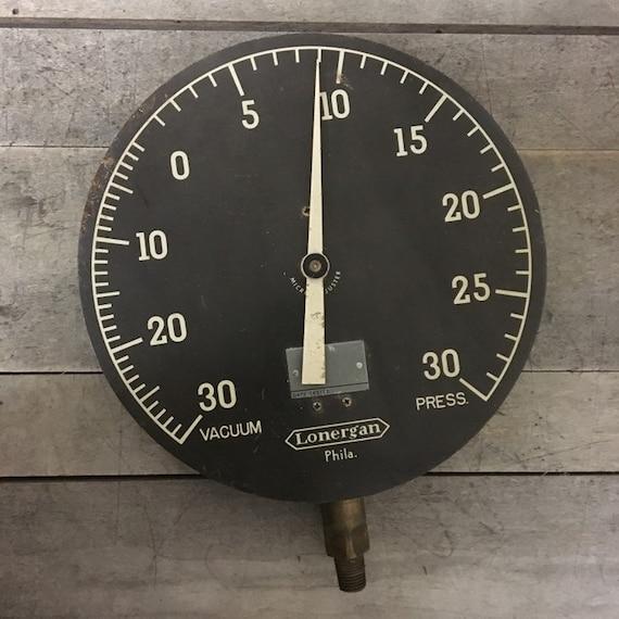 """Vintage Lonergan Vacuum Press Guage Dial 8"""" Diameter"""