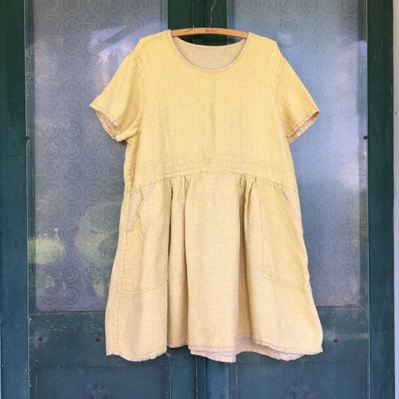 Flax Engelhart Spring 2007 Short-Sleeve Tunic Dress -L- Sun Diamonds Reversible Linen