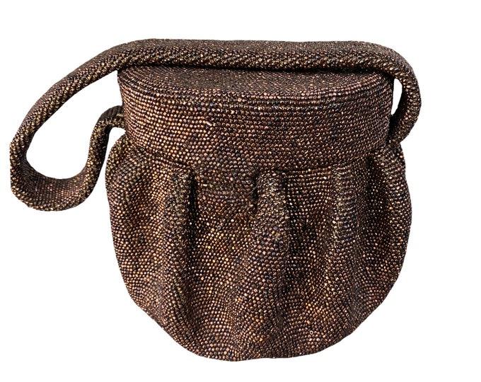 Vintage 1940s Round Handbag with Copper Beading
