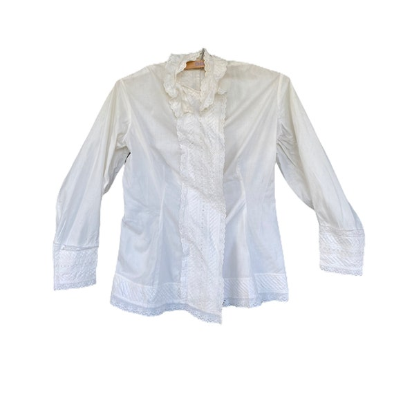 Vintage Victorian Edwardian Cotton Blouse with Elaborate Pintuck and Eyelet Trim