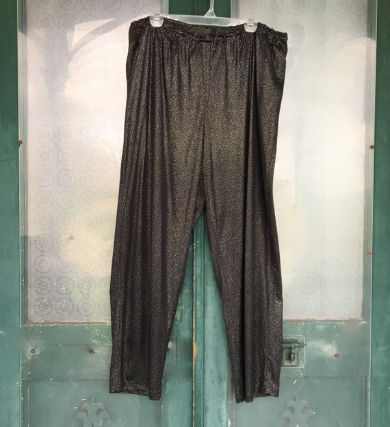Tamotsu 1980s Pull On Straight Pants -M+ Black with Silver Pin Dots