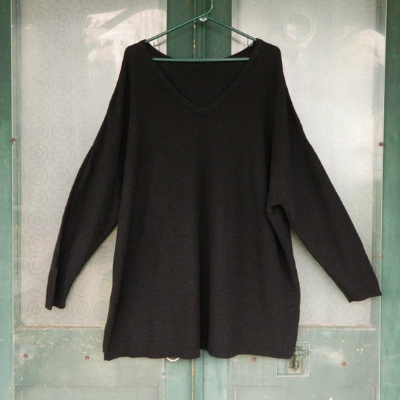 Stephanie Schuster Slouchy V- Neck Pullover Sweater -2X- Black Cotton/Rayon