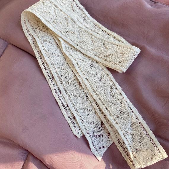 """Vintage Ivory Cotton Hand Knit Trim Dress Remnant 71"""" x 1.5"""""""