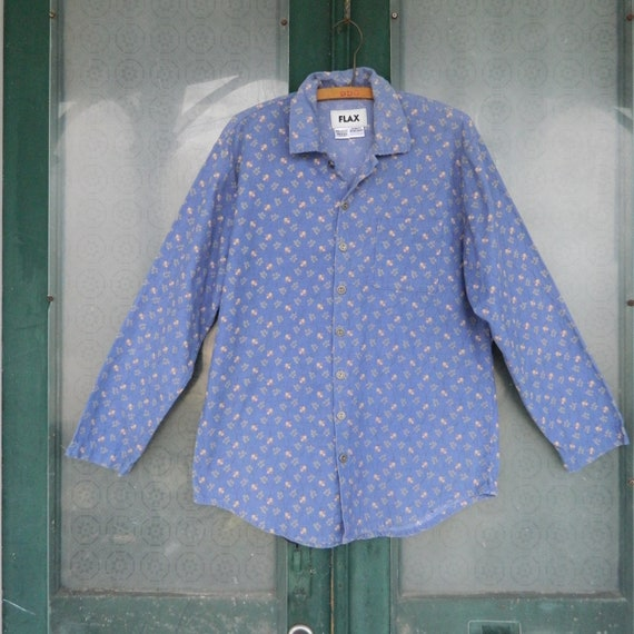 FLAX Engelheart Fall 2003 Long Sleeve Shirt -P/XS- Periwinkle Floral Cordury