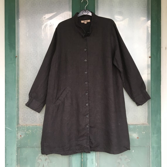FLAX Designs Long Jacket -L- Black Linen