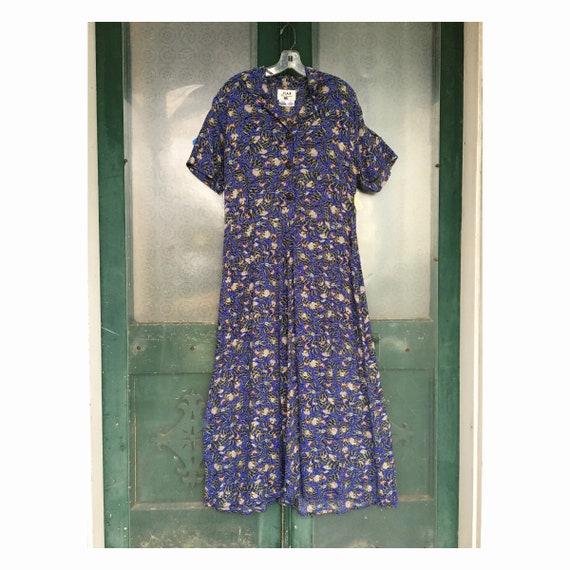 FLAX Engelhart Thinking Tropics Short-Sleeve Retro Dress -M- Bright Bees Rayon