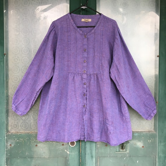 FLAX Engelheart Long Sleeve Tunic Shirt -L- Yarn-Dyed Purple Linen