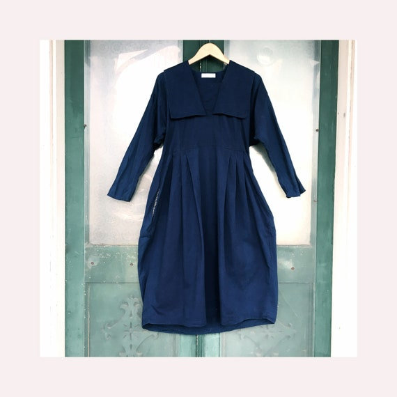 Su Zen Retro Sailor Dress -XS- Navy Blue Cotton