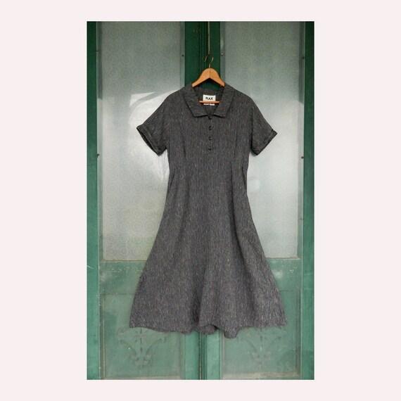 FLAX Engelheart Short-Sleeve Retro Dress -S- Cream with Black and Blue Stripe Linen