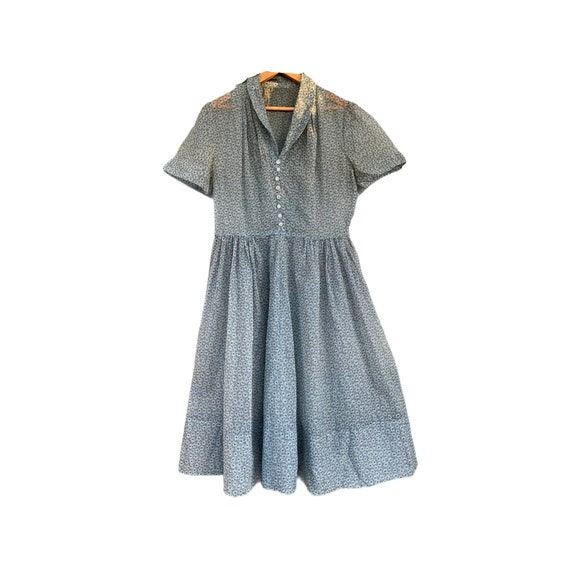 Vintage 1930s Blue/Gray Daisy Sheer Dress