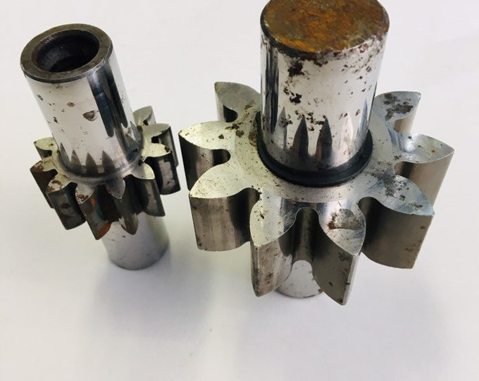 Pair of Heavy Metal Chrome Machine Gears
