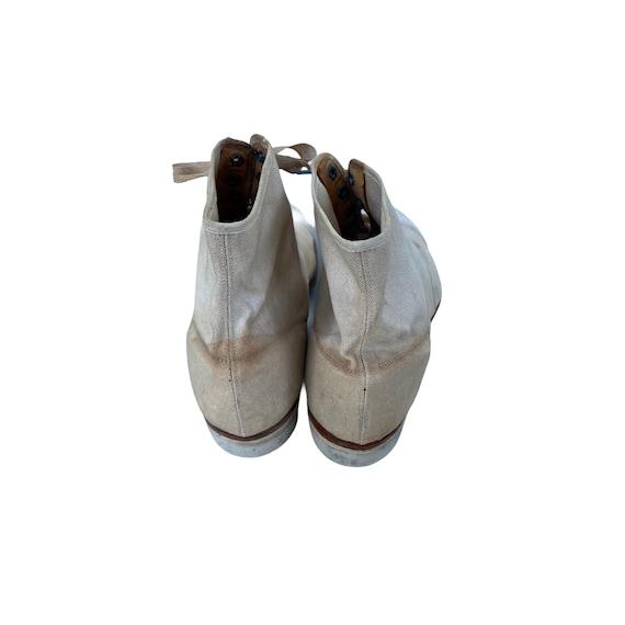 Edwardian Lace Up White Canvas Boots - image 5