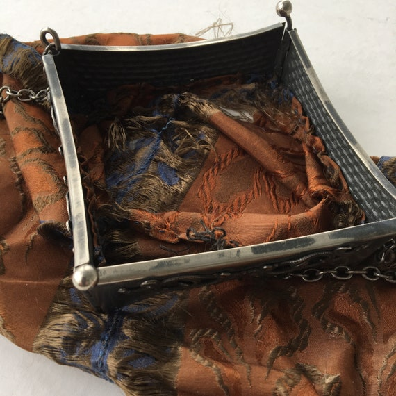 Vintage Silk Handbag with Hinged Metal Frame