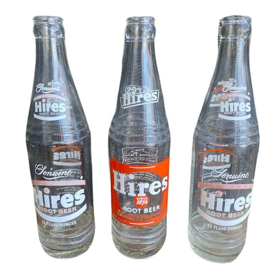 Trio of 1960s Hires Root Beer Glass Bottles