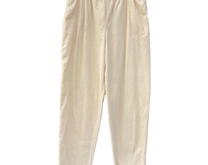 FLAX Engelhart Fall 1996 Straight Pants -M- French Vanilla Cotton Corduroy