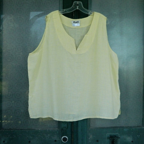FLAX Notched V Tank Top -2G/2X- Pale Yellow Light Weight Linen