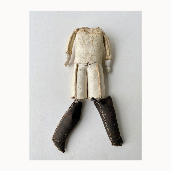 Antique Kid Leather Doll Body with Bisque Hands