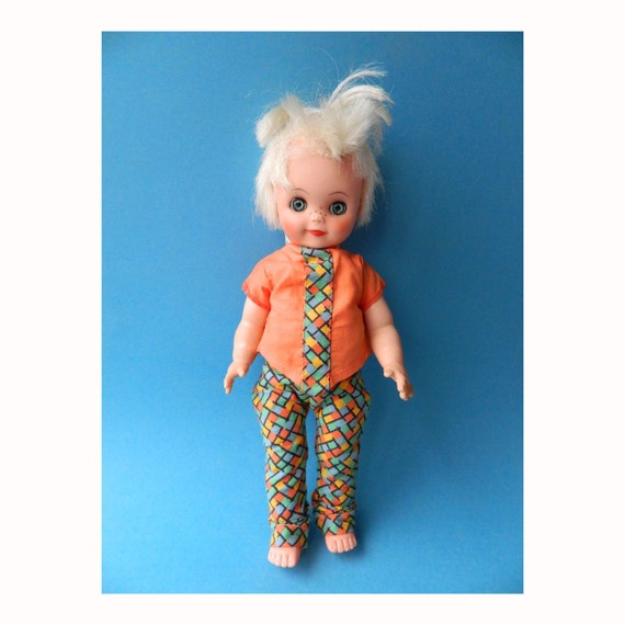 Vintage 1980s Blonde Punk Doll 12""